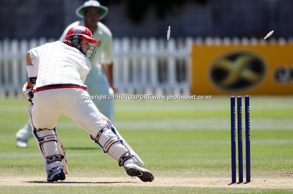 Canterbury batsman Michal Papps watches his bails fly. State Championship Cricket 2007/08 Season, Wellington v Canterbury. Basin Reserve, Wellington, Saturday 1 December 2007. Photo: Andrew Cornaga/PHOTOSPORT