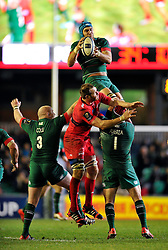Graham Kitchener of Leicester Tigers claims the ball in the air - Photo mandatory by-line: Patrick Khachfe/JMP - Mobile: 07966 386802 07/12/2014 - SPORT - RUGBY UNION - Leicester - Welford Road - Leicester Tigers v Toulon - European Rugby Champions Cup