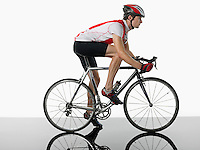 Bicyclist mounted on bicycle profile