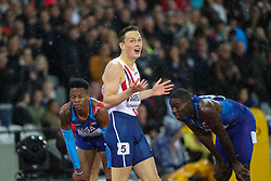 London, August 09 2017 . Karsten Warholm, Norway, celebrates his victory, becoming world champion in the men's 400m hurdles final  on day six of the IAAF London 2017 world Championships at the London Stadium. © Paul Davey.