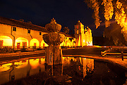historic old Santa Barbara Mission at night