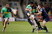 Rugby Union - 2018 / 2019 Gallagher Premiership - Sale Sharks vs. Harlequins<br /> <br /> Ben Tapuai of Harlequins is tackled by Sam James and Rohan Janse Van Rensburg of Sale Sharks, at the AJ Bell Stadium.<br /> <br /> COLORSPORT/PAUL GREENWOOD