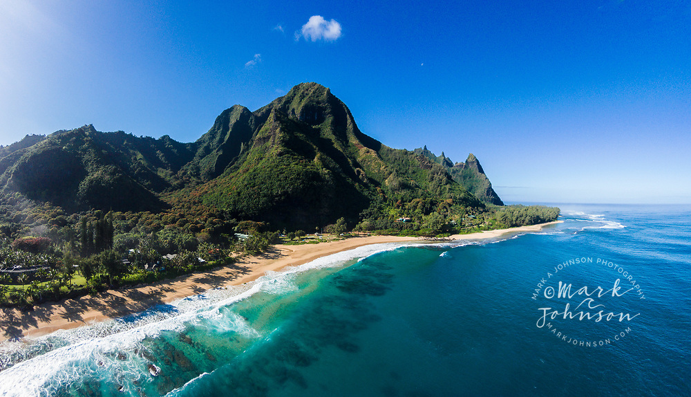 Aerial photo of Haena (Tunnels) Beach, Kauai, Hawaii
