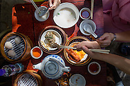 dim sum in Hong Kong. Steamed meat balls, dumplings with shrimp (xiao mai), stewed chciken feet, pork congee, tea.