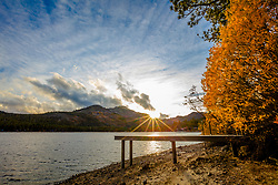 """Donner Lake in Autumn 10"" - Sunset photograph of fall foliage and a dock at Donner Lake in Truckee, California."