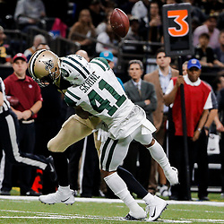 Dec 17, 2017; New Orleans, LA, USA; New York Jets cornerback Buster Skrine (41) forces a fumble by New Orleans Saints wide receiver Brandon Coleman (16) during the second half at the Mercedes-Benz Superdome. The Saints defeated the Jets 31-19. Mandatory Credit: Derick E. Hingle-USA TODAY Sports