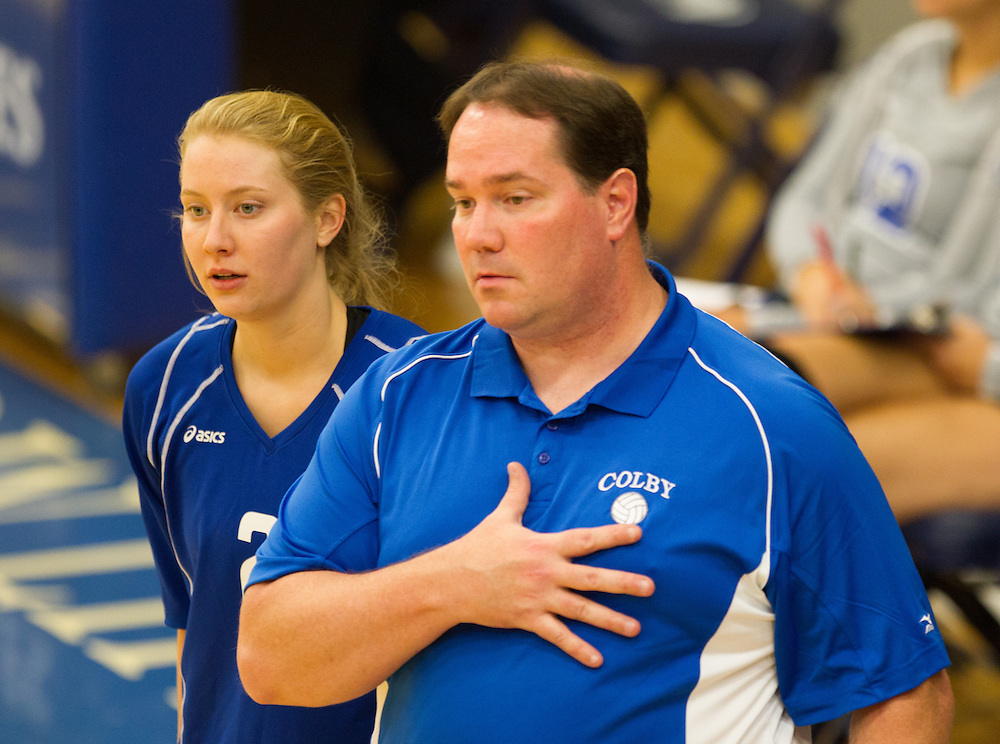 John Leighton and Natalie Roy, of Colby College, during an NCAA Division III volleyball match against Tufts University at The Whitmore-Mitchell at Wadsworth Gymnasium, Saturday Sep. 19, 2014 in Waterville, ME.  (Dustin Satloff/Colby College Athletics)