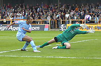 Photo: Matt Bright.<br /> Barnet v Mansfield Town. Coca Cola League 2. 13/10/2007.<br /> Simon Brown of Mansfield Town shoots and misses past Lee Harrison of Barnet