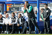 Queens Park Rangers Caretaker Manager John Eustace shouting instructions from the technical area during the EFL Sky Bet Championship match between Queens Park Rangers and Swansea City at the Loftus Road Stadium, London, England on 13 April 2019.