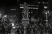 Rembrandt monument in Rembrandt's square, Amsterdam, night view in black and white