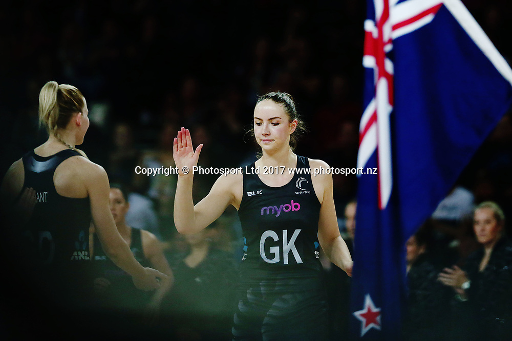 Kelly Jury of New Zealand is introduced to the lineup. 2017 Constellation Cup match, New Zealand Silver Ferns v Australian Diamonds at Spark Arena, Auckland, New Zealand. 5 October 2017 © Copyright Photo: Anthony Au-Yeung / www.photosport.nz