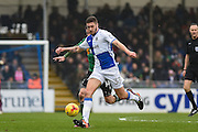 Bristol Rovers Defender, Ryan Sweeney (33) first to the ball during the EFL Sky Bet League 1 match between Bristol Rovers and Scunthorpe United at the Memorial Stadium, Bristol, England on 25 February 2017. Photo by Adam Rivers.