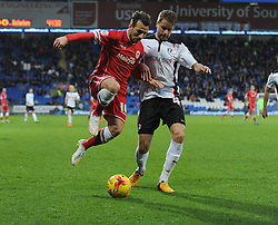 Cardiff City's Adam Le Fondre battles for the ball with Rotherham's Kari Árnason - Photo mandatory by-line: Alex James/JMP - Mobile: 07966 386802 - 06/12/2014 - SPORT - Football - Cardiff - Cardiff City Stadium  - Cardiff City v Rotherham United  - Football