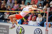 Mar 5, 2017; Belgrade, Serbia; Sylwester Bednarek (POL) wins the high jump at 7-7¼ (2.32m) during the 34th European Indoor Championships at Kombank Arena. (Jiro Mochizuki/Image of Sport)