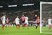 Scotland Defender Grant Hanley heads at goal  during the FIFA World Cup Qualifier group stage match between England and Scotland at Wembley Stadium, London, England on 11 November 2016. Photo by Phil Duncan.