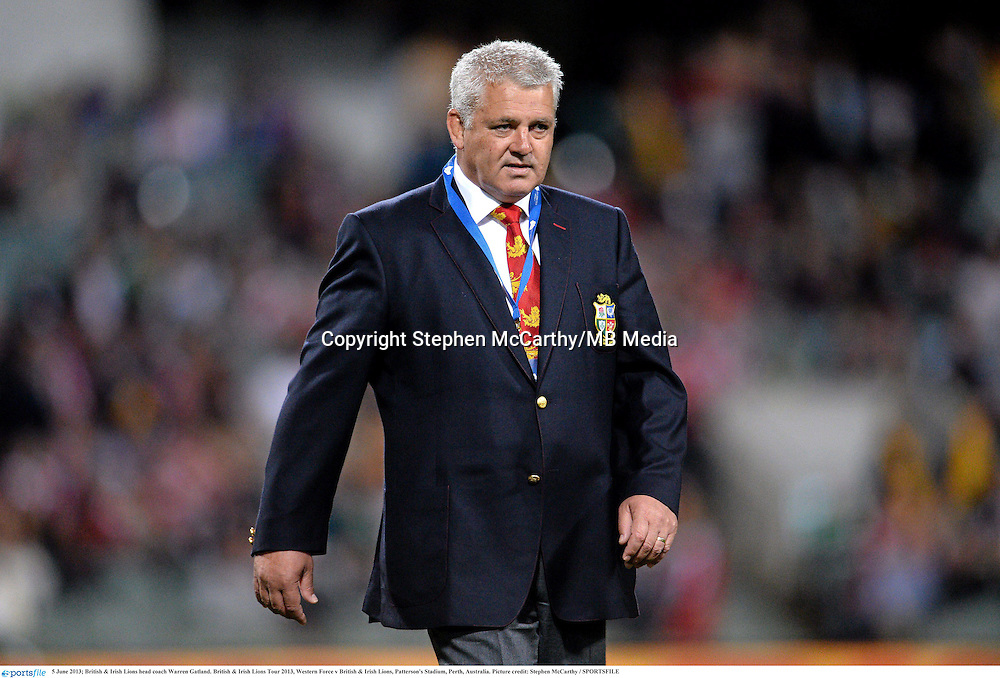 5 June 2013; British & Irish Lions head coach Warren Gatland. British & Irish Lions Tour 2013, Western Force v British & Irish Lions, Patterson's Stadium, Perth, Australia. Picture credit: Stephen McCarthy / SPORTSFILE