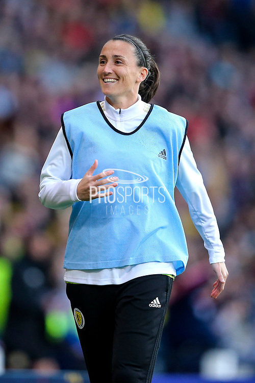 Shannon Lynn (#12) of Scotland warms up during the International Friendly match between Scotland Women and Jamaica Women at Hampden Park, Glasgow, United Kingdom on 28 May 2019.