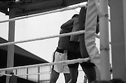 Ali vs Lewis Fight, Croke Park,Dublin..1972..19.07.1972..07.19.1972..19th July 1972..As part of his built up for a World Championship attempt against the current champion, 'Smokin' Joe Frazier,Muhammad Ali fought Al 'Blue' Lewis at Croke Park,Dublin,Ireland. Muhammad Ali won the fight with a TKO when the fight was stopped in the eleventh round...The fighters clinch in the corner to gain a well deserved breather.