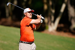 Former Clemson punter and current assistant football coach Bill Spiers tees off during the Chick-fil-A Peach Bowl Challenge at the Ritz Carlton Reynolds, Lake Oconee, on Tuesday, April 30, 2019, in Greensboro, GA. (Paul Abell via Abell Images for Chick-fil-A Peach Bowl Challenge)