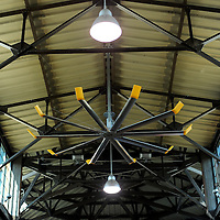 Large ceiling fans mounted in a shed at Eastern Market, Detroit Michigan