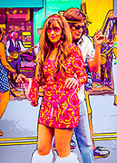 Groovy 60's couple dancing to the music of British Invasion cover band the GB's at the May 2018 DADA Gallery Hop in Winston-Salem, North Carolina.