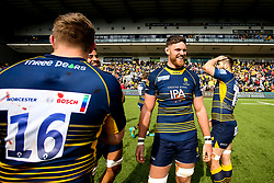 Darren Barry of Worcester Warriors celebrates beating Gloucester Rugby and securing Premiership Rugby status - Mandatory by-line: Robbie Stephenson/JMP - 28/04/2019 - RUGBY - Sixways Stadium - Worcester, England - Worcester Warriors v Gloucester Rugby - Gallagher Premiership Rugby