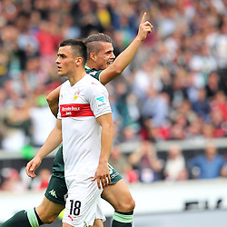 26.09.2015, Mercedes Benz Arena, Stuttgart, GER, 1. FBL, VfB Stuttgart vs Borussia Moenchengladbach, 7. Runde, im Bild Filip Kostic ( VfB Stuttgart ) Granit Xhaka ( Borussia Moenchengladbach ) jubelt nach dem 0:1 // during the German Bundesliga 7th round match between VfB Stuttgart and Borussia Moenchengladbach at the Mercedes Benz Arena in Stuttgart, Germany on 2015/09/26. EXPA Pictures © 2015, PhotoCredit: EXPA/ Eibner-Pressefoto/ Langer<br /> <br /> *****ATTENTION - OUT of GER*****