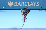 Raven Klassen (South Africa) serving during the doubles final of the Barclays ATP World Tour Finals at the O2 Arena, London, United Kingdom on 20 November 2016. Photo by Phil Duncan.