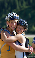 Teenage Bicycle Tourists Riding Going to the Sun Highway in Glacier National Park in Montana