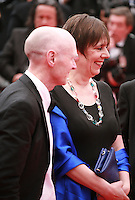 Paul Laverty and Rebecca O'Brien at Jimmy's Hall gala screening red carpet at the 67th Cannes Film Festival France. Thursday 22nd May 2014 in Cannes Film Festival, France.
