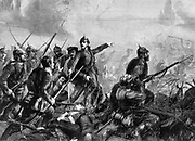 Franco-Prussian War 1870-1871: Prussian Infantry at the Charge, 1870. From 'The Graphic'.  (London, 3 September 1870). Wood engraving. France. Germany.