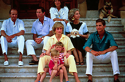 Prince Charles, Prince of Wales and Diana, Princess of Wales relax with Prince William, Prince Harry and the Spanish Royal Family on their holiday in Majorca on August 10, 1987.