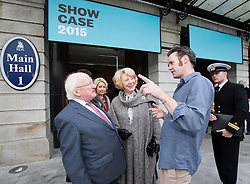 Repro Free: 18/01/2015<br /> Pictured at the opening of Showcase 2015, Ireland&rsquo;s largest international trade fair, is President of Ireland Michael D. Higgins and Diarmuid Neilan, from Ekotree Knitwear winner of the Showcase Best Overall Product Award. Showcase runs in the RDS until Wednesday, 21st January.  Picture Andres Poveda