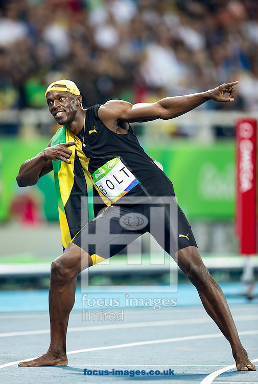 Usain Bolt of Jamaica retains his title and wins his third successive Gold Medal in the Men's 100m on day nine of the XXXI 2016 Olympic Summer Games in Rio de Janeiro, Brazil.<br /> Picture by EXPA Pictures/Focus Images Ltd 07814482222<br /> 14/08/2016<br /> *** UK &amp; IRELAND ONLY ***<br /> <br /> EXPA-GRO-160815-5418.jpg