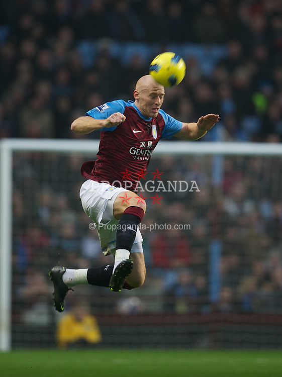 BIRMINGHAM, ENGLAND - Sunday, February 12, 2012: Aston Villa's James Collins in action against Manchester City during the Premiership match at Villa Park. (Pic by David Rawcliffe/Propaganda)