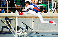 June 7, 2014 - Los Alamitos' Tyler Rios leaps over a hurdle during the 300m Hurdles event at the California State Championships in Clovis, CA.<br /> <br /> <br /> ///ADDITIONAL INFORMATION: 1snell.0530 &ndash; 5/30/14 &ndash; FOSTER SNELL, ORANGE COUNTY REGISTER - Assorted LA and OC athletes. CIF-SS Masters meet at Cerritos College.