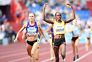 Winny Chebet (KEN) defeats Shelby Houlihan (USA) to win the women's 1,500m , 4:16.01 to 4:16.36, during the IAAF Continental Cup 2018 at Mestkey Stadion in Ostrava, Czech Republic, Saturday, Sept. 8, 2018. (Jiro Mochizuki/Image of Sport)