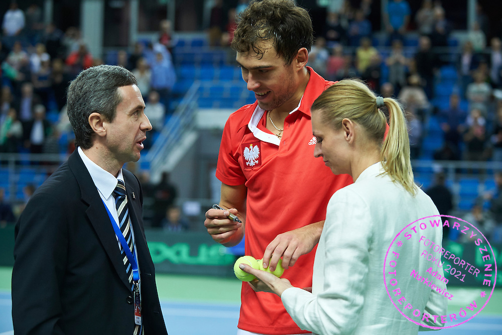 (L) ITF supervisor Valery Lutkov from Russia and (C) Jerzy Janowicz of Poland and (R) Katarzyna Posluszny during third day the Davies Cup / Group I Europe / Africa 1st round tennis match between Poland and Lithuania at Orlen Arena on March 8, 2015 in Plock, Poland<br /> Poland, Plock, March 8, 2015<br /> <br /> Picture also available in RAW (NEF) or TIFF format on special request.<br /> <br /> For editorial use only. Any commercial or promotional use requires permission.<br /> <br /> Mandatory credit:<br /> Photo by &copy; Adam Nurkiewicz / Mediasport