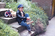 Neville on step at Hawthorne Road, High Wycombe, UK, 1980s