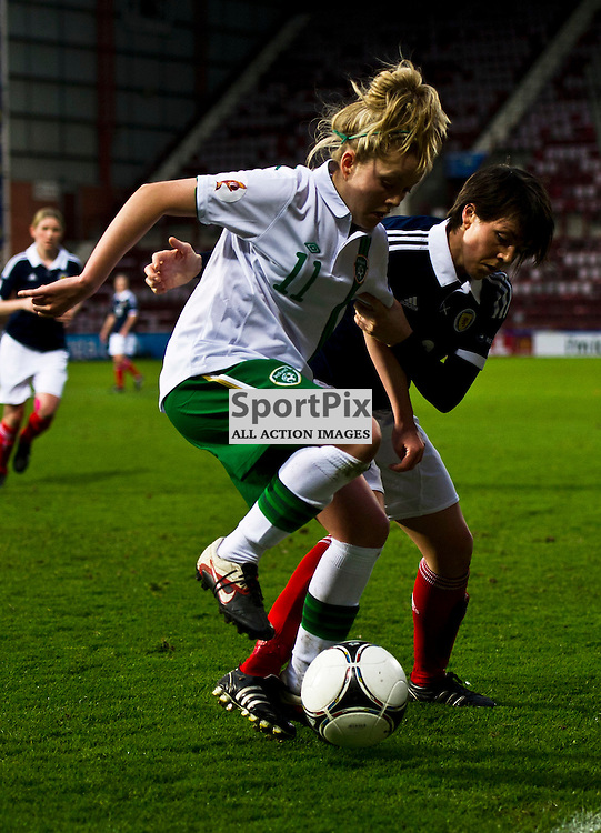 Republic of Ireland scorer Denise O'Sullivan protects the ball from Megan Sneddon. Scotland Women v Republic of Ireland Women, UEFA Women's European Championship 2011/13 Qualifier