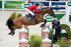 Lorenzo De Luca, (ITA), Evita Van De Veldbalie - Team & Individual Competition Jumping Speed - Alltech FEI World Equestrian Games™ 2014 - Normandy, France.<br /> © Hippo Foto Team - Leanjo De Koster<br /> 02-09-14
