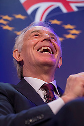 © Licensed to London News Pictures. 29/03/2018. London, UK. Former Prime Minister Tony Blair speaks at 'The UK in a Changing Europe' conference in London on the first anniversary of the triggering of Article 50. Photo credit: Rob Pinney/LNP