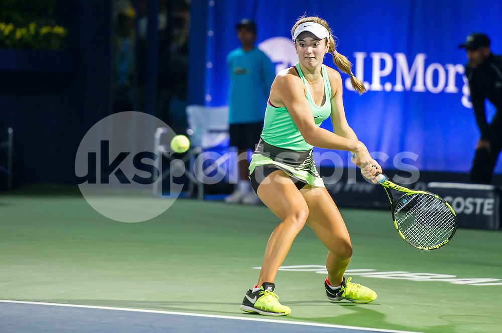 Catherine Bellis of the USA in action during the Dubai Duty Free Tennis Championship at the Dubai International Tennis Stadium, Dubai, UAE on 23 February 2017. Photo by Grant Winter.