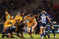 Rugby Union - 2019 / 2020 Gallagher Premiership - Sale Sharks vs. Wasps <br /> <br /> Will Rowlands of Wasps is tackled by Byron McGuigan of Sale Sharks, at AJ Bell Stadium,<br /> <br /> COLORSPORT/PAUL GREENWOOD