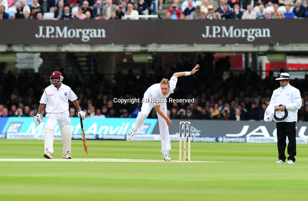 17.05.2012 London, England.  Stuart Broad in action during the First Test between England and West Indies from Lords.