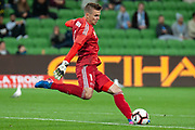 MELBOURNE, VIC - NOVEMBER 09: Wellington Phoenix goalkeeper Filip Kurto (1) goes for a goal kick at the Hyundai A-League Round 4 soccer match between Melbourne City FC and Wellington Phoenix on November 09, 2018 at AAMI Park in Melbourne, Australia. (Photo by Speed Media/Icon Sportswire)