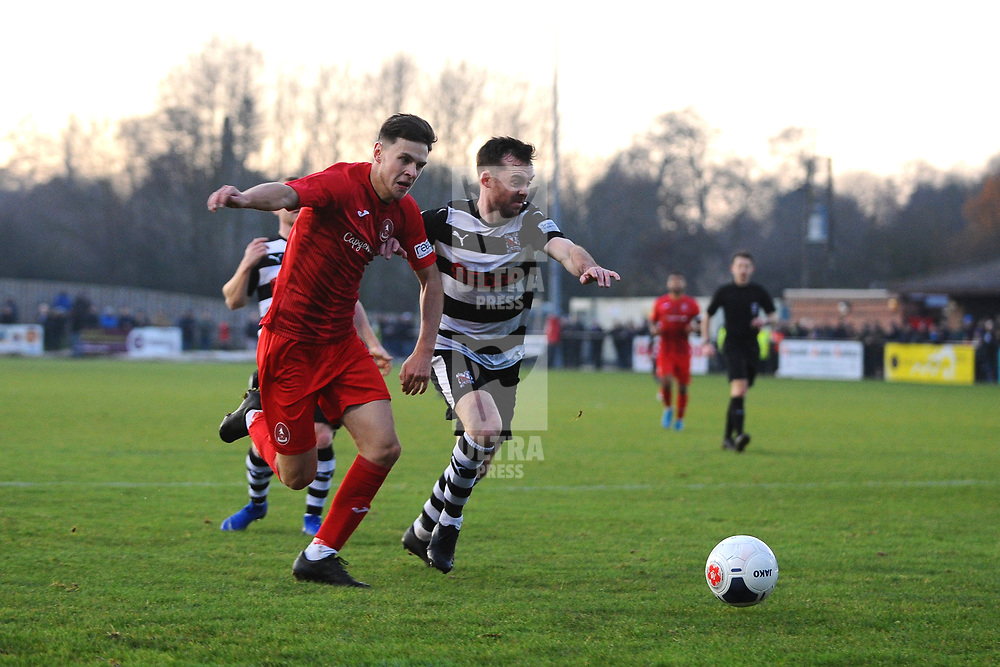 TELFORD COPYRIGHT MIKE SHERIDAN Ryan Barnett of Telford during the Vanarama Conference North fixture between Darlington and AFC Telford United at Blackwell Meadows on Saturday, November 30, 2019.<br /> <br /> Picture credit: Mike Sheridan/Ultrapress<br /> <br /> MS201920-032