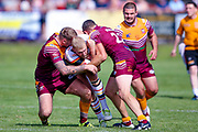 Bradford Bulls Damian Sironen (10) is stopped during the Kingstone Press Championship match between Batley Bulldogs and Bradford Bulls at the Fox's Biscuits Stadium, Batley, United Kingdom on 16 July 2017. Photo by Simon Davies.