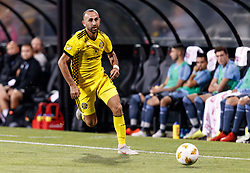 September 1, 2018 - Columbus, OH, U.S. - COLUMBUS, OH - SEPTEMBER 01: Justin Meram (9) of Columbus Crew SC pushes the ball down the sideline in the MLS regular season game between the Columbus Crew SC and the New York City FC on September 01, 2018 at Mapfre Stadium in Columbus, OH. (Photo by Adam Lacy/Icon Sportswire) (Credit Image: © Adam Lacy/Icon SMI via ZUMA Press)