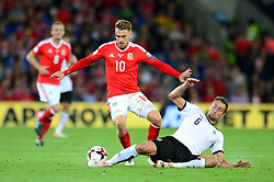 Aaron Ramsey of Wales is challenged by Stefan Llsanker of Austria - Mandatory by-line: Dougie Allward/JMP - 02/09/2017 - FOOTBALL - Cardiff City Stadium - Cardiff, Wales - Wales v Austria - FIFA World Cup Qualifier 2018